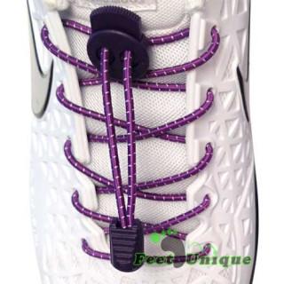 Elastische, violett gestreifte Schnürsenkel mit Verschluss