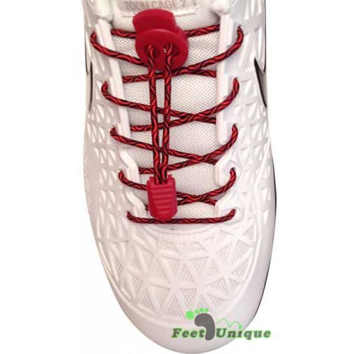 Elastische Schnürsenkel in Schwarz & Rot mit Schnellverschluss