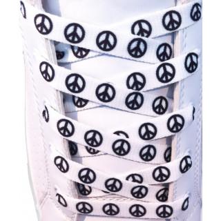 Weiße Schnürsenkel mit Peace-Symbol