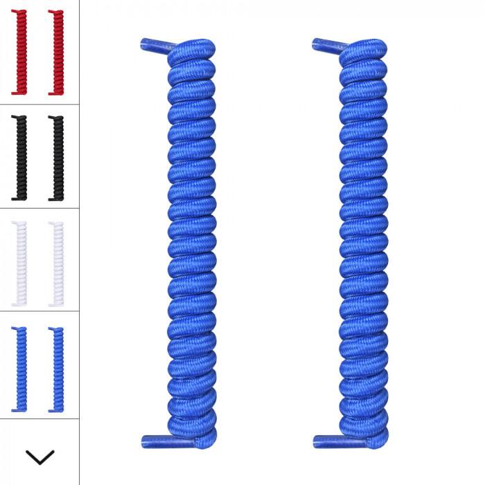 Blaue, spiralförmige Schnürsenkel