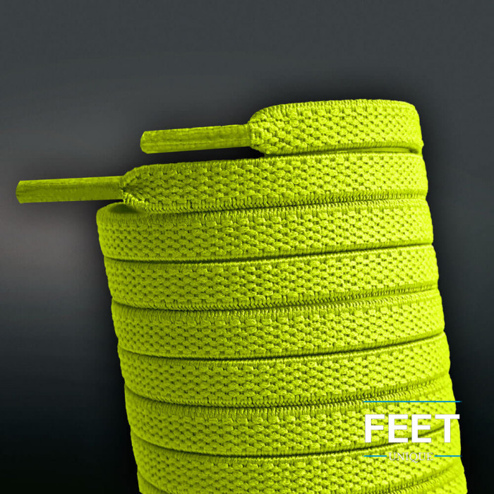 Elastische, flache, neongelbe Schnürsenkel (No-Tie)