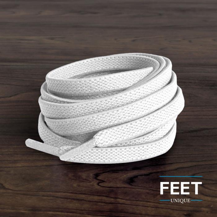 Elastische, flache, weiße Schnürsenkel (No-Tie)