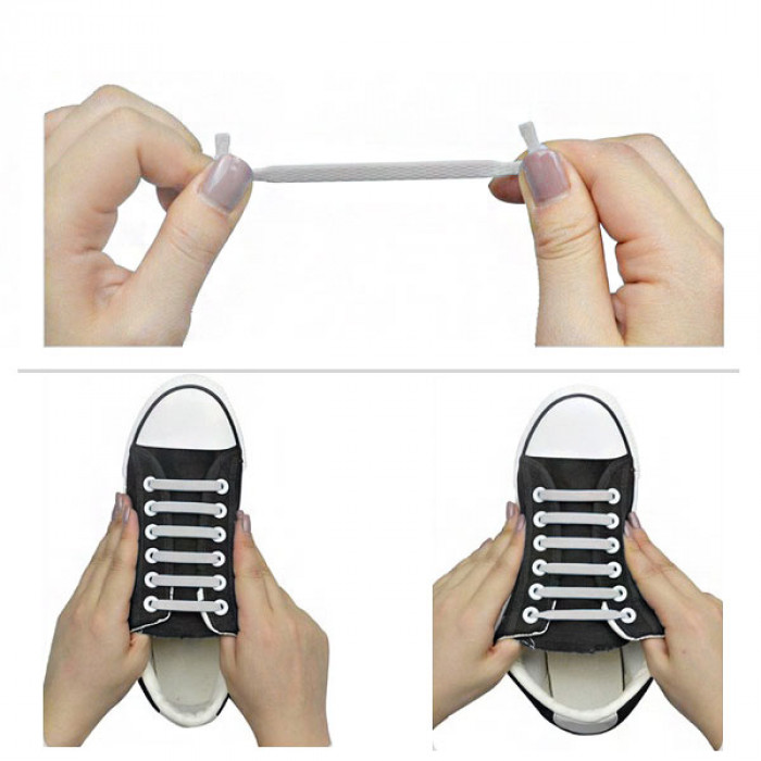 Hellgraue elastische Silikon-Schnürsenkel