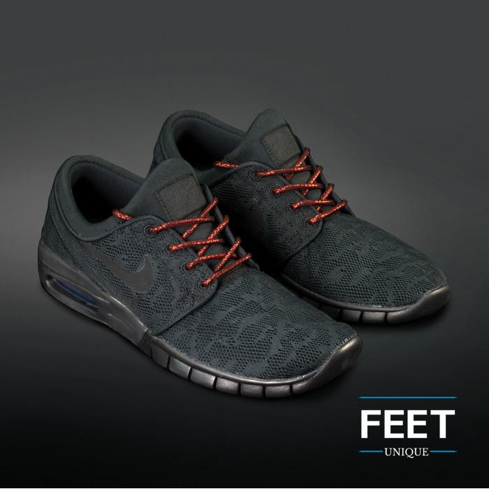 Adidas Yeezy -  Schnürsenkel, metallic-rot auf schwarz